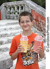 男の子, 飲むこと, 若い, ジュース