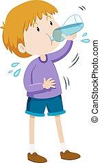 男の子, 飲料水, から, びん