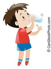 男の子, 飲料水, から, ガラス