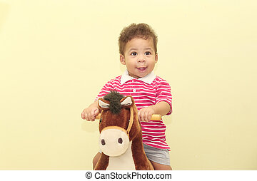 男の子, 馬, 彼の, toy., アフリカ, 肖像画, 愛らしい