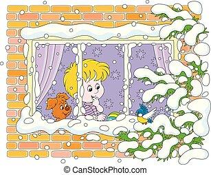 男の子, 鳥, わずかしか, 子犬, 小さい, 監視