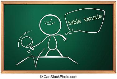 男の子, 黒板, テニス, 遊び, テーブル, 図画
