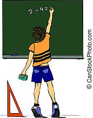 男の子, 黒板, 図画