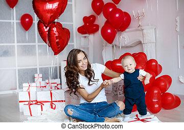 男の子, 1, 写真, お母さん, 赤ん坊, 年, 美しい, 家族