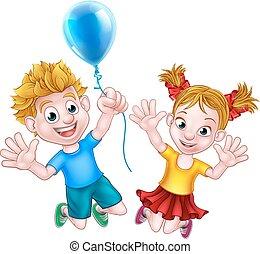男の子, balloon, 跳躍, 女の子, 漫画