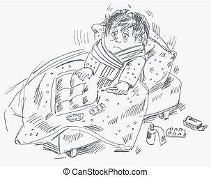 男の子, became, 病気, そして, あった, ベッドで横になる