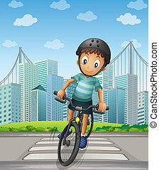 男の子, biking, 都市