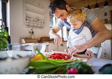 男の子, cooking., よちよち歩きの子, 父, 若い