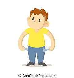 男の子, design., man., 彼の, イラスト, 特徴, 白, 貧しい, ポケット, 平ら, 空, 隔離された, 提示, 微笑, 漫画, 壊れた, バックグラウンド。, ベクトル, 若い