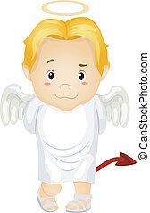 男の子, devil-tailed, 天使