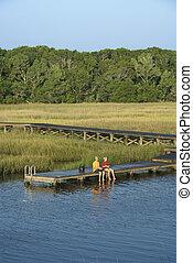 男の子, dock., 釣り