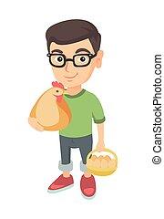 男の子, eggs., 鶏, 保有物, めんどり, コーカサス人