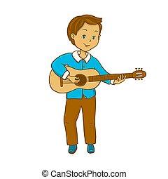 男の子, guitar., 遊び