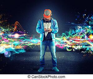 男の子, hiphop, 音楽が聞く