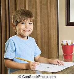 男の子, homework.
