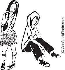 男の子, illustration., 悲しい, girl., ベクトル, 黒, 白