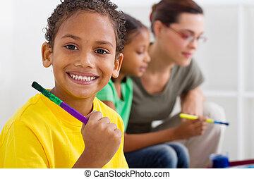 男の子, indian, 幼稚園, 幸せ