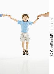 男の子, jumping.