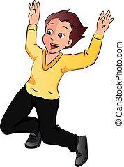 男の子, jumping., ベクトル, 幸せ