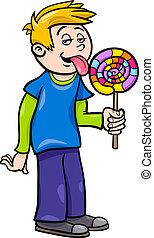 男の子, lollipop, イラスト, 漫画