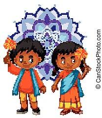男の子, mandala, indian, パターン, 背景, 女の子
