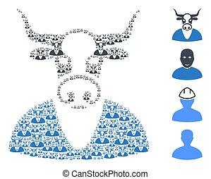 男の子, recursion, 構成, 項目, 牛, 自己