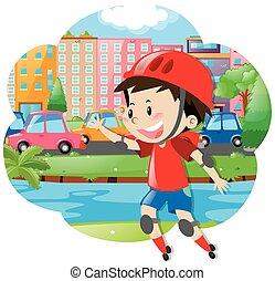 男の子, rollerskates, 都市