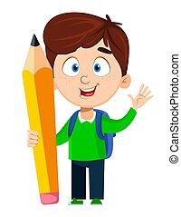 男の子, school., 鉛筆, 大きい, 背中, かわいい, 保有物