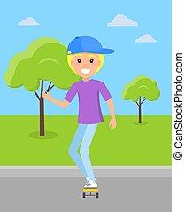 男の子, skatepark, 乗車, スケートボード, ブロンド, 微笑