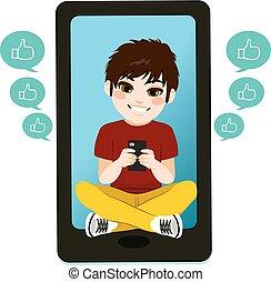 男の子, smartphone, ティーネージャー