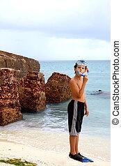 男の子, snorkeling