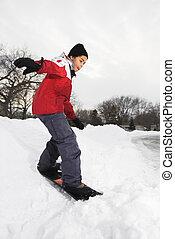 男の子, snowboarding.
