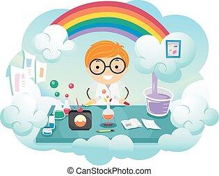 男の子, stickman, 虹, 色, 実験室, 子供
