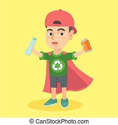 男の子, superhero, アルミニウム, プラスチック, 錫, びん