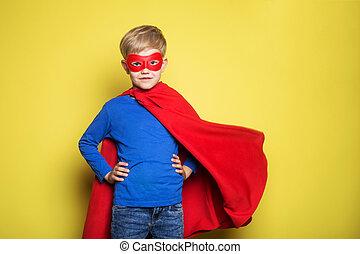 男の子, superman., 英雄, 上に, 黄色, mask., スタジオ, 背景, 岬, 肖像画, 極度, 赤