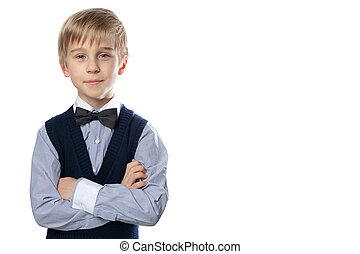 男の子, tie., クラシック, 弓, スーツ, 肖像画, ブロンド