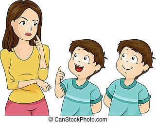 男の子, twin, 子供, お母さん, イラスト