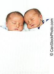 男の子, twin, 睡眠, 側