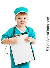 男の子, uniformed, クリップボード, 子供, 医者