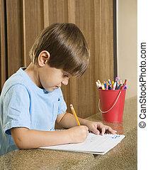 男の子, writing.