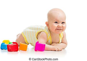 男の赤ん坊, おもちゃ, 遊び, カップ