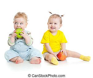 男の赤ん坊, そして, 女の子, 食べること, りんご, 隔離された
