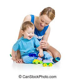 男の赤ん坊, そして, 母親遊び, 一緒に, ∥で∥, コンストラクションセット, おもちゃ