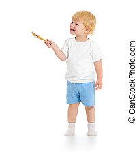 男の赤ん坊, ∥で∥, ペンキ ブラシ, 正面図, 地位, 丈いっぱいに, 隔離された, 白, 背景
