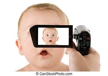 男の赤ん坊, へ, camcorder