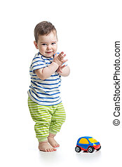 男の赤ん坊, よちよち歩きの子, 遊び, ∥で∥, おもちゃ 車