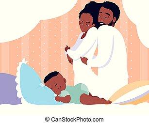 男の赤ん坊, アフリカ, 親, 睡眠
