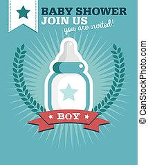 男の赤ん坊, シャワー, カード, 招待