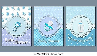 男の赤ん坊, シャワー, vector., カード。