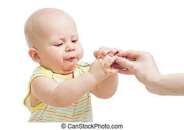 男の赤ん坊, スプーン, 食べること